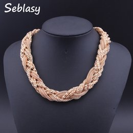 Discount gold braided chain necklace - Seblasy New Chunky Gold Color Punk Necklaces Handmade Braided Twisted Choker Statement Necklaces & Pendants For Women Co