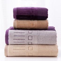 Sets Velvet NZ - Wholesale-Geometric Purple Striped Pattern Towel Sets High Quality Thickening Pure Cotton Bath Towel Velvet-Pile Soft Comfortable Towels