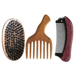 Paddle Picks online shopping - Boar Bristle Brush Comb Set Pocket Wide Fine Tooth Ox Horn Wooden Afro Hair Pick Comb Drop Shipping Men Christmas Valentine Bussiness Gift