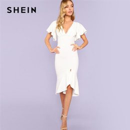 Shein Dresses Canada - SHEIN White Party Elegant Sexy Backless Form Fitting  Slit Ruffle Hem Double d7ea957f4