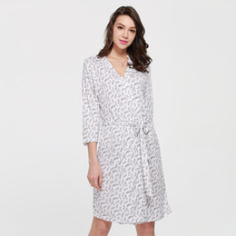 eastical Modal Robe Women Sleepwear Summer Printed Kimono Bathrobe Gown  Three Quarter Sleeve Nightgown Sexy Nightdress M L 2b6bb776c