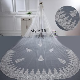 long church veils 2019 - White Lace Long Pearls Wedding Veils 2018 Luxury Elegant Cathedral Bridal Veils In Stock 380 CM Wedding Accessories For