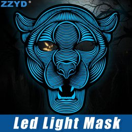 Wholesale ZZYD LED Mask Halloween Cosplay EL Mask Sound Control Creative Cold Light Masquerade Portable Flexible With Many Style Mask