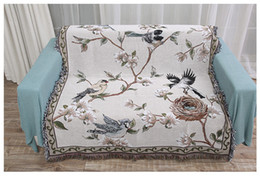 Discount chinese beds - Chinese Tradition Style Sofa Cover Blanket Bird Plant Pattern Macrame Cotton Carpet Thickening Home Bed Cover Throw Blan