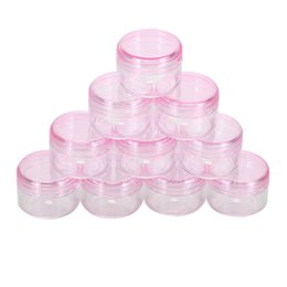 Makeup Art Storage Box Canada - 10Pc cosmetic sifter jars Pot Box Nail Art Cosmetic Bead Storage Makeup Cream Box Plastic Container Round Bottle Pink