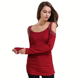 d2f7cd785f24f3 Cold Shoulder T Shirt Women Tops O-Neck Solid Top Tees Female 2017 New  Fashion Sexy Long Sleeve Casual Slim Autumn T-Shirts