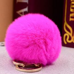 rose keyrings 2019 - Brand Fluffy Rex Rabbie Fur Pompom 8CM For Bags&Cars Charm Real Natural Fur Balls Key Chain TKK005-rose keyring women ch