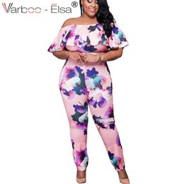 d65980ffd81 Plus size bodysuits romPers online shopping - Long Jumpsuits Women off  shoulder Print Skinny Long Rompers