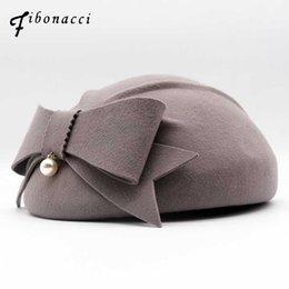 blue felt hat 2018 - Fibonacci 2018 New Dinner Party Women Beret Fedoras Wool Felt Hat Pearl Bow Autumn Winter Cap Hats discount blue felt ha
