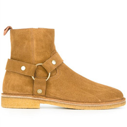 Rubber Day Canada - 2018 new handmade ankle strap luxury high top Raw rubber exclusive sand tan color boots suede ankle desert west denim martin boots