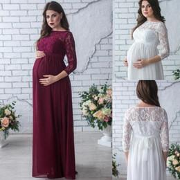 dbc7b8e3b 2018 elegante de encaje de gasa noche vestidos embarazados modestos mangas  largas vestidos de maternidad mujeres verano embarazo vestido largo más  tamaño ...