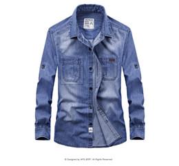 Wholesale plus size blue jeans dresses for sale – plus size Fashion Denim Shirt Men Long Sleeve Casual Shirts Men Jeans Shirts for Male Dress Camisa Masculina Clothes Color Plus Size XL