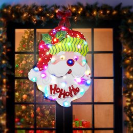 $enCountryForm.capitalKeyWord Australia - Christmas Santa Paper Board Hanging Ornaments LED Light Up Decor For DIY Party Decorations 30x39cm On Flash Off 4 Light Colors