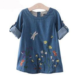 Children Straight Gown Styles Australia - Girls Denim Dress Children Clothing Casual Style Girls Clothes Butterfly Embroidery Dress Kids Clothes for 2-8 years
