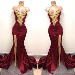 Discount fashion design major - New Design 2K18 Sexy Burgundy Prom Dresses with Gold Lace Appliqued Mermaid Front Split for 2018 Long Party Evening Wear