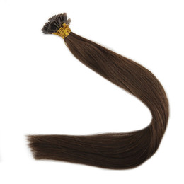 $enCountryForm.capitalKeyWord UK - Pre Bonded Flat Tip Hair Extensions Straight 50G 100G Per Pack Color#4 1g Strand 100% Remy Human Hair Extensions