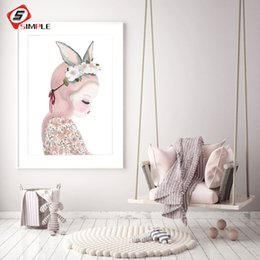 $enCountryForm.capitalKeyWord NZ - Dreaming Kids Watercolor Poster Nordic Girl Canvas Art Prints Wall Pictures For Nursery Baby Room Scandinavian Child Decoration