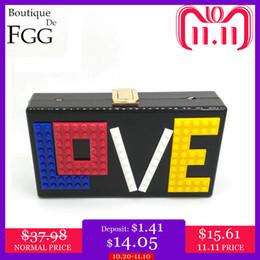 Ladies Evening Handbags Australia - Boutique De FGG LOVE Letters Women Black Acrylic Box Clutch Handbags Evening Party Dinner Bags Ladies Fashion Chain Shoulder Bag D18110106