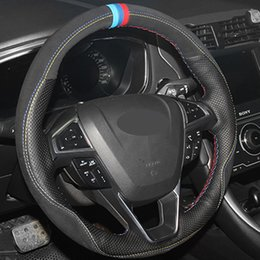 Black Genuine Leather Suede Diy Hand Stitched Car Steering Wheel Cover For Ford Fusion Mondeo