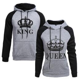 Chinese  2018 KING Queen Crown Print Unisex Men Women Autumn Hoodies Slim Sweatshirt for Couple Lovers Winter Patchwork Hooded Pullovers Y18102202 manufacturers