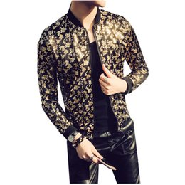 Nightclub Jacket Gold Black Prom Outwear Stage Cloth For Men Spring Summer Jacket  Party Bomber Men Paisley Thin 3c43ab621
