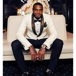 $enCountryForm.capitalKeyWord Canada - Latest Coat Pant Designs White Gold Lapel Prom Men Suit Slim Fit Skinny 2 Piece Tuxedo Custom Suits Groom Blazers (Jacket+Pants)