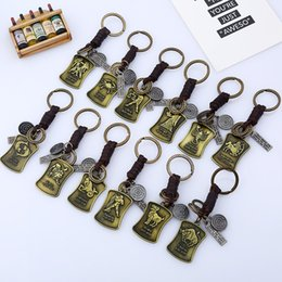 bronze chains wholesale NZ - 12 Constellations Jewellery Vintage Bronze Tag Jewelry Leather Keychain Men Casual Personality Zodiac Signs Punk Key Chains