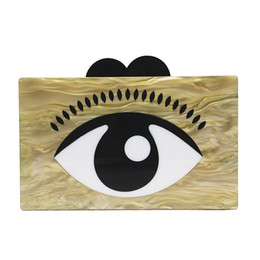 $enCountryForm.capitalKeyWord Australia - Yens Women Mini Messenger Bag Novel Acrylic Handbag Evil Eyes Clutch Evening Bag Cute Coffee Color Wallet Patchwork Acrylic Box