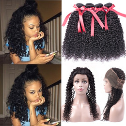 Peruvian Curly Human Hair Australia - Beaudiva Hair Pre Plucked 360 Lace Frontal With Bundle Peruvian Curly Wave Human Hair Bundles With Closure Unprocessed Virgin Hair 4PCS Lot