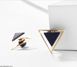 Discount geometric triangle ring - H1562 925 silver needle pink geometric triangle front and rear earrings female Korean version of simple temperament tide