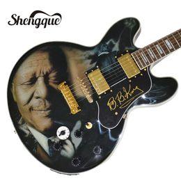 Guitar Custom Shop Black NZ - Free shipping factory custom black jazz electric guitar 6 strings hollow body guitar with gold hardware musical instrument shop