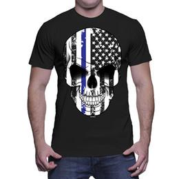 b5327358ea2 Thin Blue Line Canada - Mens Thin Blue Line American Flag In Skull - USA T