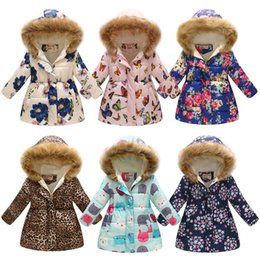 Floral print coats online shopping - Baby girls Thickening Floral Outwear butterfly Flower Leopard Print Down Coat Kids Winter Clothes Boutique Hooded Jacket colors C5408