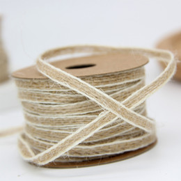 Rotolo di nastro di cotone naturale di canapa di Mariage Fish Silk Rustic da 10 m * 0.5cm con decorazione White Line Vintage