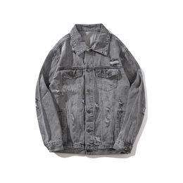Ropa de mezclilla caliente 2018 para chaquetas de hombres de motocicletas antiguas antiguas tendencia hip-hop de alta calidad con denim color puro agujero gris M-XXL en venta