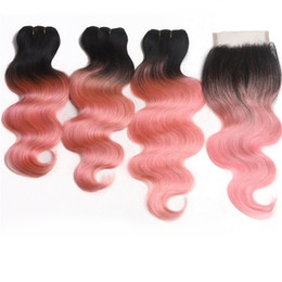 $enCountryForm.capitalKeyWord Australia - Ombre Rose Gold Pink Brazilian Hair Bundles with Lace Closure 1B Pink Body Wave Ombre Human Hair Weaves with Top Closure