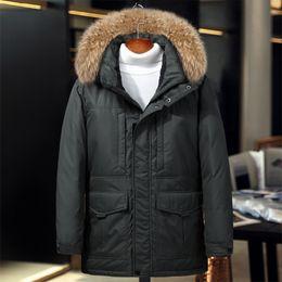 Medium Degree NZ - -40 degree Russia winter jacket for men medium long genuine fur collar thermal thick keep warm men's down jacket snow overcoat