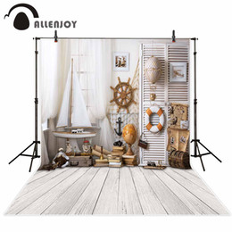 Discount spray painted backdrop - Allenjoy children sailor wood floor indoor photography backdrops curtain boat white planks board backgrounds for photo s