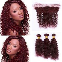 red bundles 28 inch hair 2019 - Hot Selling Wine Red 99J Deep Wave Hair Bundles With Lace Frontal Closure Brazilian Burgundy Virgin Human Hair Weaves Wi