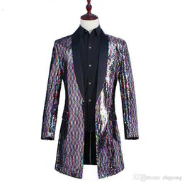 Chinese  Men Rainbow Color Long Coat Colorful Flipping Sequins Windbreaker Outerwear Tide Male Singer Punk Dancer DJ Concert Host Performance Costume manufacturers