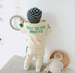 Wholesale 2018 baby boys and girls hooded letter jacket striped casual pants suit children s suit
