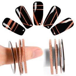Nail Striping UK - Mtssii Rose Gold Matte Glitter Nail Striping Tape Line For Nails DIY Decoration Nail Art Stickers Beauty Accessories