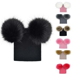 Discount wool ball hat children - Winter Kids Faux Fur Crochet Hat 2 Plush Balls Toddler Girls Knitted Beanie Children Warm Pom Poms Cap XRQ88