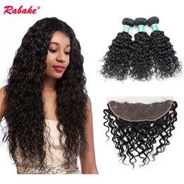 virgin hair dhl 2019 - Water Wave Bundles with Frontal 13x4 Ear to Ear Closure Rabake Brazilian Peruvian Malaysian Virgin Human Hair Bundles wi