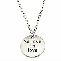 $enCountryForm.capitalKeyWord Australia - WYSIWYG 5 Pieces Metal Chain Necklaces Pendants Hand Made Necklace Men Believe In Love 20mm N2-B10385