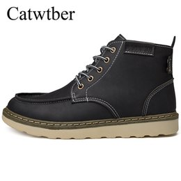 c8172639441 Catwtber 2018 New Fashion Men Shoes Autumn Winter Men Boots Vintage Man  Shoes Casual Leather High-Cut Lace-up Hombre Motorcycle