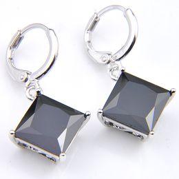 $enCountryForm.capitalKeyWord Canada - 10Prs Luckyshine Classic Fashion Fire Square Onyx Stone Cubic Zirconia Gemstone Silver Dangle Earrings for Holiday Wedding Party