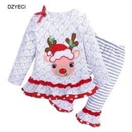 China Christmas Birthday Tracksuit For Kid Deer Set Clothes Fall Winter Baby Girl Bow T Shirt Top+Ruffle Striped Pant 2PC Outfit Children Pajamas suppliers
