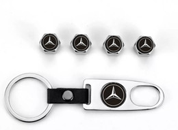 Wholesale 4 Pcs Car Roda Pneu Válvula Caps Pneu Stem Air Caps Chaveiro para Mercedes-Benz