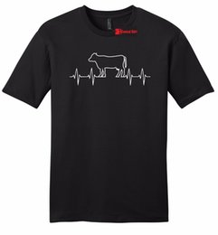 Show Shirt NZ - Cow Heartbeat Mens Soft T Shirt Cattle Cow Lover Farm Country Cattle Show Tee Z2 T Shirt Short Sleeve